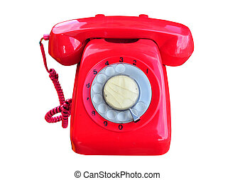 A red rotary telephone