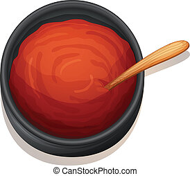 a red sauce - illustration of a red sauce on a white...