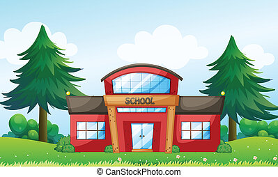 A red school building - Illustration of a red school ...