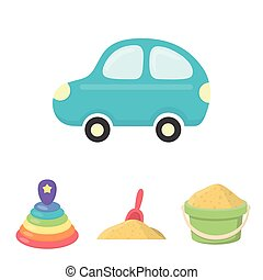 A red scoop in the sand, a green bucket with sand, a multi-colored pyramid, a blue toy car. Toys set collection icons in cartoon style vector symbol stock illustration web.