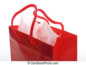 red shopping bag - a red shopping bag isolated on white...