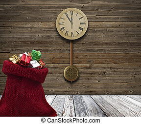 wood wall with a clock showing the time is five minutes to twelve.