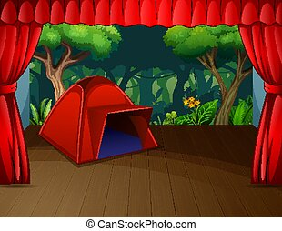 A red tent on the theater stage
