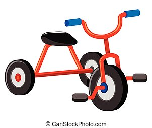 A Red Tricycle on White Background