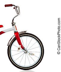 A red Tricycle on White - A child\'s red tricycle on a white...