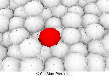 a red umbrella and the rest white - This is to illustrate ...