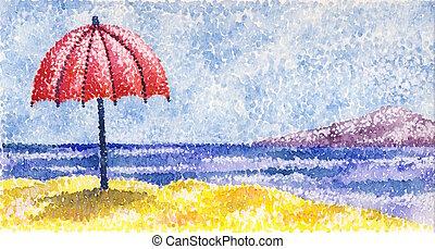 A red umbrella