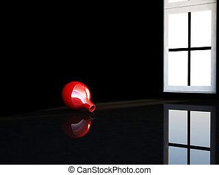 vase in the dark room