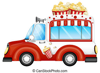 A red vehicle selling popcorns