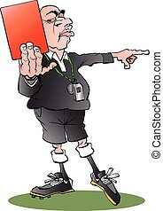 A referee with a red card - Vector cartoon illustration of a...