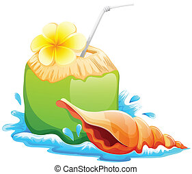 lllustration of a refreshing and healthy summer drink on a white background
