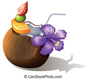 A refreshing coconut juice - Illustration of a refreshing ...