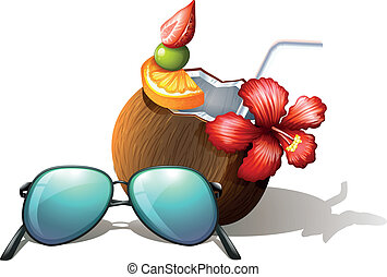 A refreshing drink and a sunglasses for a beach outing -...