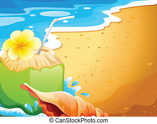 A refreshing drink at the beach - Illustration of a ...
