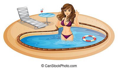 A refreshing pool with a sexy lady - Illustration of a...