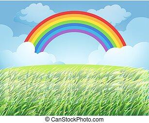 a, regenbogen, aus, reis paddy