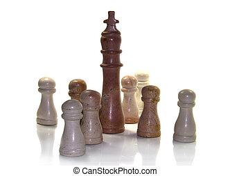a, rei, como, líder, em, xadrez