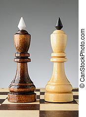 a, rei preto, é, ficar, perto, um, branca