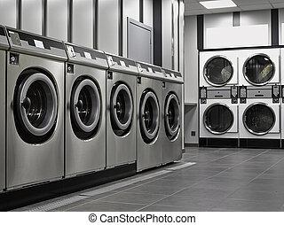 a, reihe, von, industrie, waschmaschinen, in, a,...