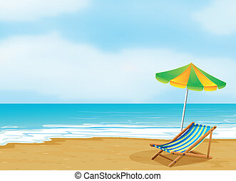 A relaxing beach with an umbrella and a foldable bed -...