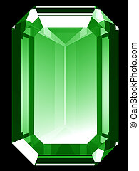 A render of a 3d Emerald isolated on a black background.