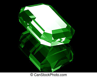 3d Emerald - A render of a 3d Emerald isolated on a black...