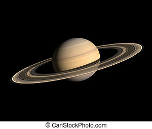Planet Saturn - A rendering of the Gas Planet Saturn with...