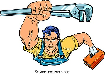 A repairman with an adjustable wrench