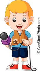 A reporter on a white background - illustration of A...