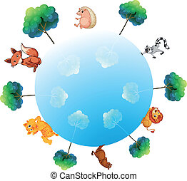 A representation of the earth with animals and plants