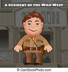 A resident of the wild West. An armed man stands in the background of the entrance to saloon. Funny animated man. Vector cartoon close-up illustration.