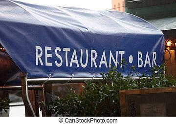 A restaurant canopy