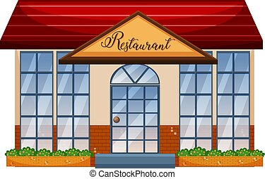 A restaurant on white background