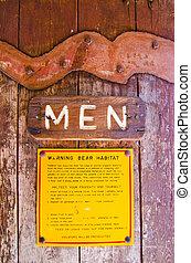 A restroom sign at Yosemite National Park