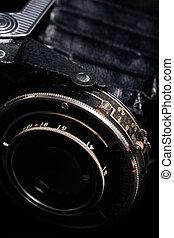 A retro camera lens close-up