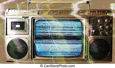 a retro ghetto blaster with built-in television