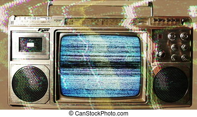 a retro ghetto blaster with built-in television