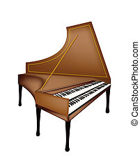 A Retro Harpsichord Isolated on White Background - Music...