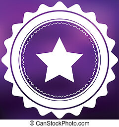 Retro Icon Isolated on a Purple Background - 5 Pointed Star
