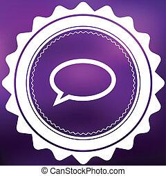 Retro Icon Isolated on a Purple Background - Speech Bubble