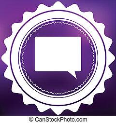 Retro Icon Isolated on a Purple Background - Speech Bubble Square