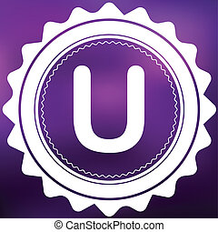 Retro Icon Isolated on a Purple Background - U