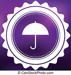 Retro Icon Isolated on a Purple Background - Umbrella