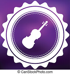 Retro Icon Isolated on a Purple Background - Violin
