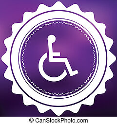 Retro Icon Isolated on a Purple Background - Wheelchair
