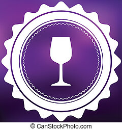 Retro Icon Isolated on a Purple Background - Wine Glass