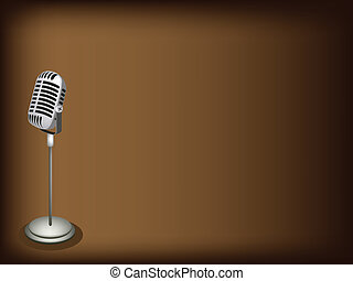 A Retro Microphone on Dark Brown Background