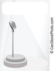 A Retro Microphone with A White Banner