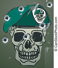 A Retro skull and beret military motif on a damaged metal camp green surface with bullet holes in it.