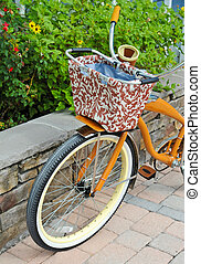 A Retro-Style Bicycle with a Carrying Basket
